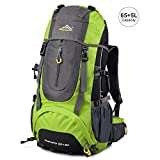 Vbiger Hiking Backpack Water Resistant Daypack 65+5L for Camping, Trekking and Mountain Climbing (Green, 65L)