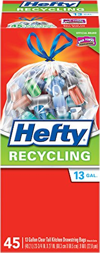 Hefty Recycling Trash Bags (Clear, Tall Kitchen Drawstring, 13 Gallon, 45 Count)