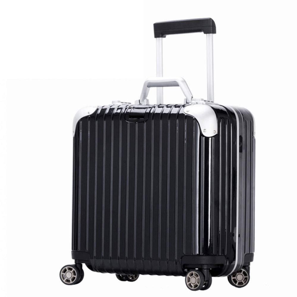 トロリー箱の普遍的な車輪のアルミニウムフレーム旅行荷物18インチビジネス搭乗パスワードスーツケース (Color : ブラック, Size : 18 inch)   B07QVCNHQR
