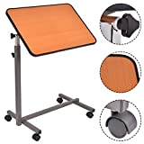 Goplus Overbed Table Hospital Food Tray Rolling Laptop Desk with Tilting Top, Yellow