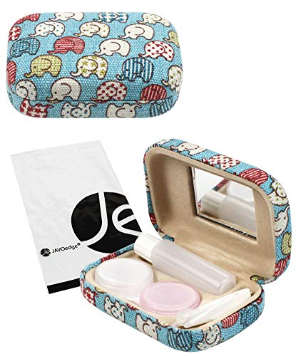 JAVOedge Colorful Cute Elephant Printed Fabric Travel Contact Lens Case Kit, Blue