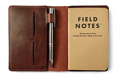 - Full Grain Leather Field Notes Notebook Cover Wallet with Pen Holder - Handcrafted in USA by Jackson Wayne - Fits 3.5