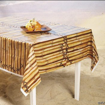 1 X Faux Bamboo Tropical Tiki Table Cover size 54'w*108'L (Bamboo 1)