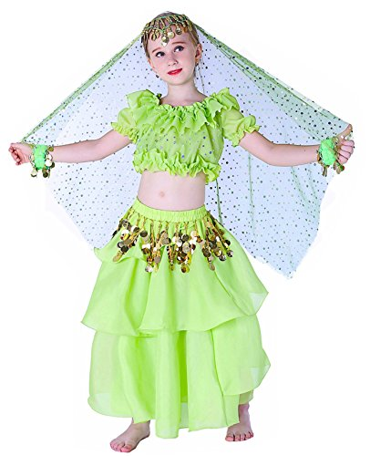 Gypsy Jingle Costume Renaissance Halloween Kids Girls 4T 6 7 8 10 12 14 16 L XL Green]()