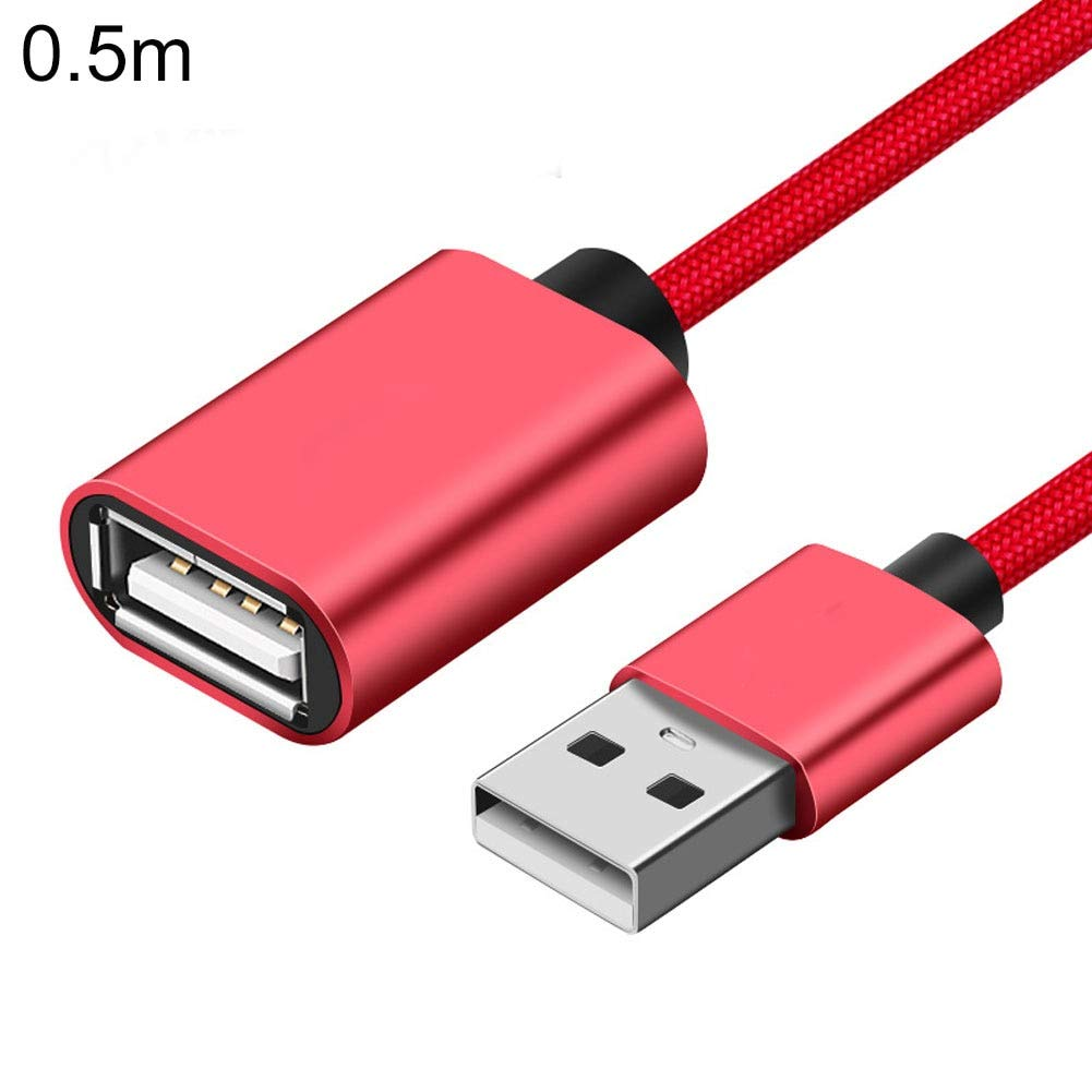 Computer Cables 0.5m 1m 1.5m 2m High Speed Male to Female USB 2.0 Extension Cable Extender Connect Data Wire Cable Length: 50cm