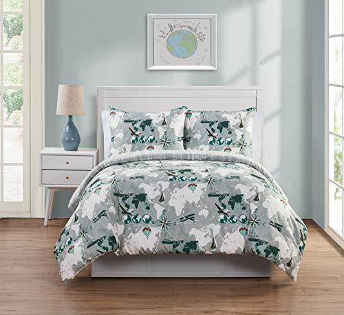 - VCNY Home World Traveler Reversible 2 Piece Bedding Comforter Set, Twin, Grey