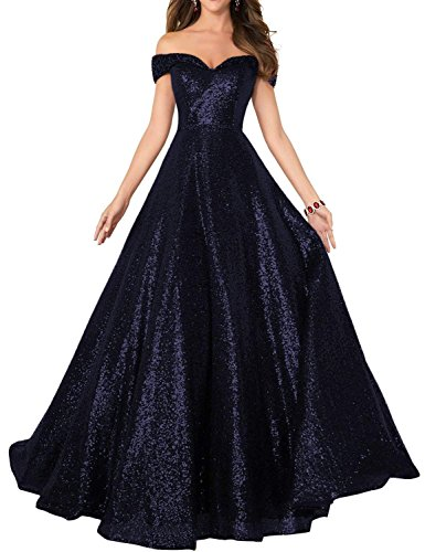 Off Gowns Navy Women Line Shoulder Beaded Sequined A Changuan Formal for With Dress Evening Long Prom Beads pnqwxdC