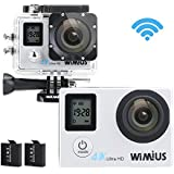 WiMiUS Action Camera 4K 16MP Dual Screen 131 Feet Underwater Camcorders WiFi Bicycle Helmet Cameras 2 Pcs Rechargeable Batteries Waterproof Case with Kit of Accessoriess, Silver