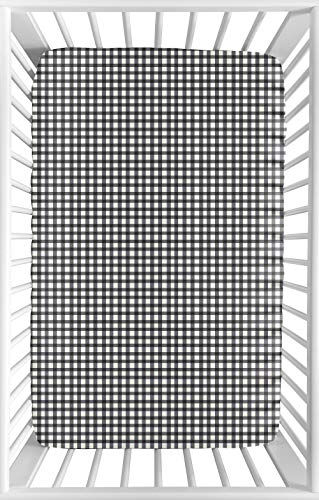 Sweet Jojo Designs Black and White Gingham Baby Girl Fitted Mini Portable Crib Sheet for Little Ladybug Collection - for Mini Crib or Pack and Play ONLY ()