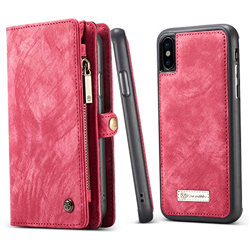 Luxury Pocket (BELK iPhone X Detachable Wallet Case with Slim Luxury Leather Back Cover & Hand Strap, 2 in 1 Magnetic Folio Card Cash Holder and Zipper Coin Pocket for Apple iPhone X Edition, Retro Red)