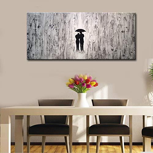 muy popular 50x120cm 014A QIAISHI Pintados Pintados Pintados a Mano, en blancoo y Negro, Pinturas abstractas, Amantes Modernos con Paraguas, Ilustraciones de Parojo para Sala de EEstrella, decoración de Parojo, Arte  online barato