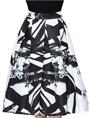 xtsrkbg Women's Stylish Summer Splash Ink Print Mid-Length Swing Skirt 1 (Splash Print Skirt)