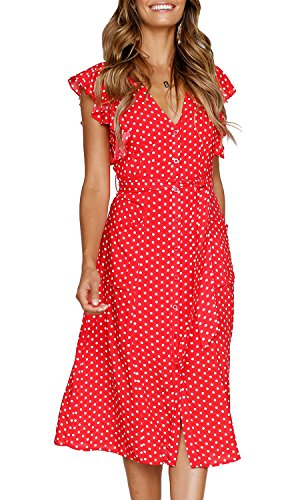 (MITILLY Women's Summer Boho Polka Dot Sleeveless V Neck Swing Midi Dress with Pockets X-Large Red)