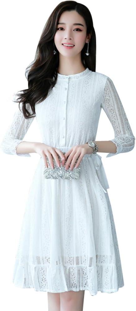 DYY Vestido de Camisa Blanca de Primavera y otoño, Falda Larga y ...