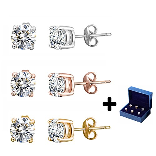 Silver Stud Earrings Black CZ Men Women 6mm Round Shape 3 Pairs With Gift Box (Rose Silver Gold) (Round Case Plated)