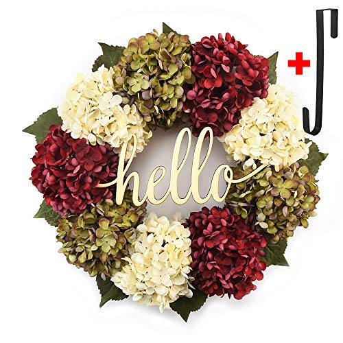 Hydrangea wreaths for front door,Outdoor summer wreaths for front door,Fall spring handmade Hello Wreath for Front Door,Farmhouse Wreath ,Rustic Wreath,Grapevine Wreath,Window Decoration(18 inches)]()