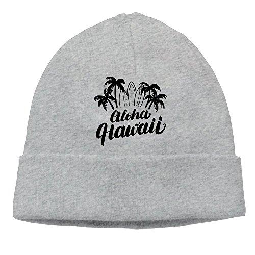 Uanjuzn Aloha Hawaii Men/Women Cool Fashion Hedging Hat Wool Beanies Cap Ash