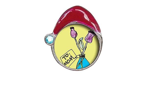 A mamá y rosa clavel en jarrón azul aguamarina cristal marzo birthstone rojo gorro de Papá encanto: Amazon.es: Hogar