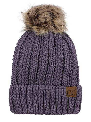 C.C Thick Cable Knit Faux Fuzzy Fur Pom Fleece Lined Skull Cap Cuff Beanie, Violet