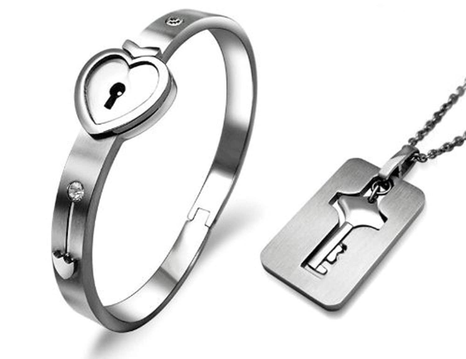 Amazon titanium stainless steel heart lock bangle bracelet amazon titanium stainless steel heart lock bangle bracelet matching key pendant necklace for couples 2pcs jss009 thanks giving gifts for her jewelry aloadofball Gallery