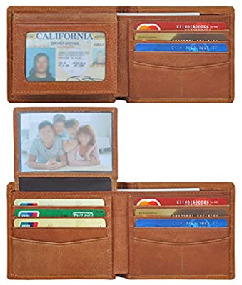 Wallets for Men,Genuine Leather Flip Slim Wallet with 2 ID Bifold RFID Blocking