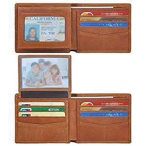 Wallets for Men,Genuine Leather Flip Slim Wallet with 2 ID Bifold RFID Blocking