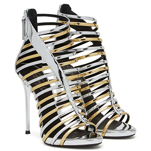 SHEO sandalias de tacón alto Zapatos de tacón alto para mujer con una bolsa de sandalias redondas con punta abierta Multi - color