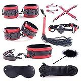 XURO 10Pcs/Set BDSM Bondage Menottes Esposas Para El Sexo Flogger Fetish Nipple Clamps SM Whip Handcuffs Sex Toys For Faloimitator 1pcs(Color random)