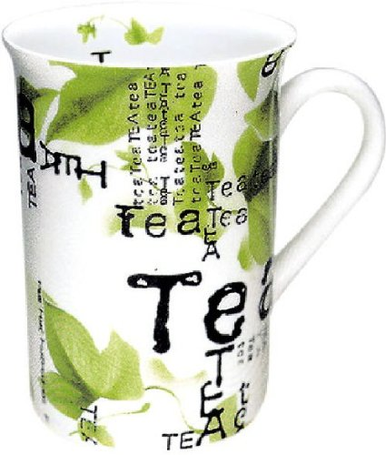 Konitz Tea Collage 10-Ounce Mugs, Set of 4, White/Green