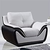 Global Furniture Bonded Leather Matching Chair, Grey/Black