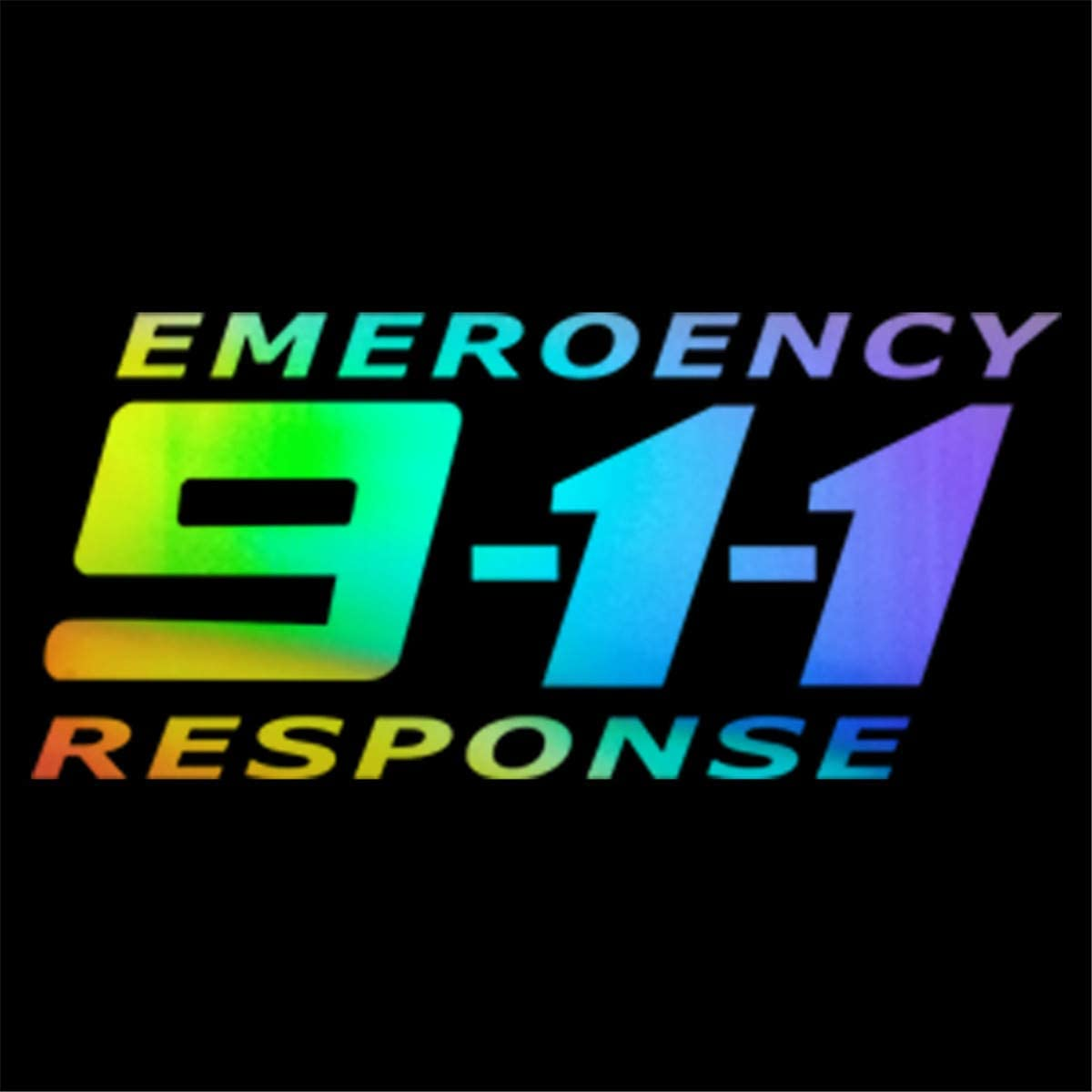 "EMERGENCY CALL 911 HIGHLY REFLECTIVE VEHICLE DECAL  10/"" RED AND SILVER"