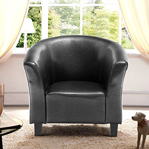 Costzon Kids Sofa Tub Chair Couch Children Living Room Toddler Furniture (PU Leather, Black) by Costzon (Image #3)'