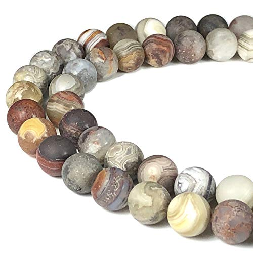 ([ABCgems] Matte Mexican Laguna Lace Agate (Hybrid of Crazy Lace Agate & Laguna Agate) 8mm Smooth Round Beads for Beading & Jewelry)