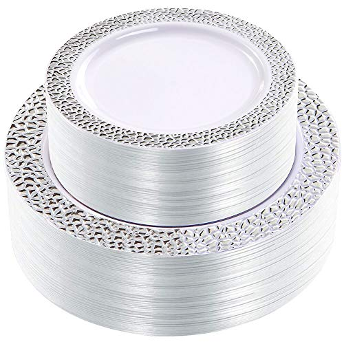 WDF 102pcs Silver Plastic Plates - White with Hammered Design Disposable Wedding Party Plastic Plates Include 51 Plastic Dinner Plates 10.25inch,51 Salad/Dessert Plates 7.5inch]()