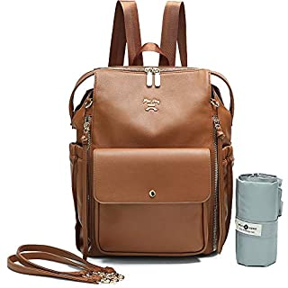 Diaper Bag Backpack by Miss Fong,Dipaer Bag, Backpack Diper Bag With Changing Pad,Large Capacity, In Bag Organizer, Stroller Strap, Insulated Pockets-Love and Peace(Black)(Brown)