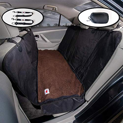 The Ultimate Dog Car Seat Cover/Pet Hammock and Soft Washable Dark Brown Fleece Dog Bed – 2 Piece Set – 58″ X 54″ Wide + Seat Flaps Fits Most Vehicles For Sale