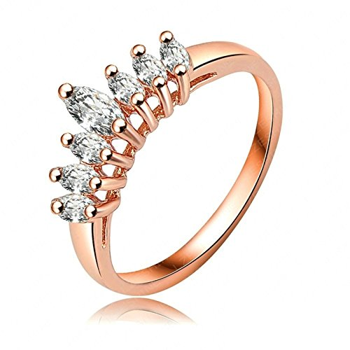 Gnzoe Rose Gold Rings Women Wedding Bands Crown Shape Rose Gold US Size - Canada Rates Shipping