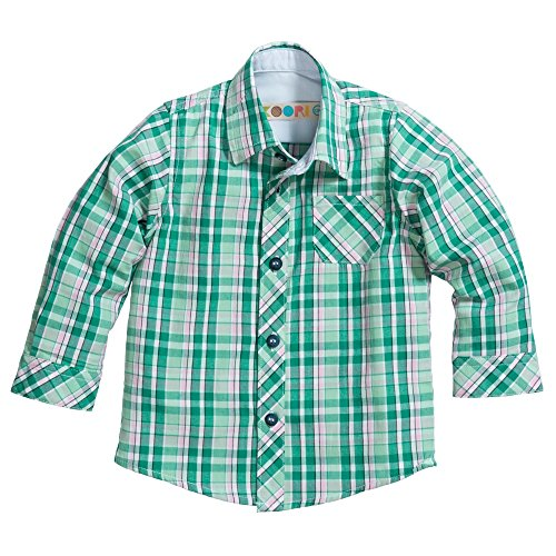 Baby Clothing Collection (Koori Collection Baby Boys' Plaid Button Down Shirt (12 Months, Green))