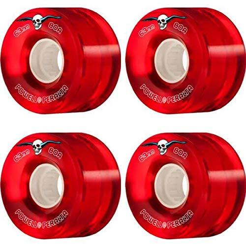 神学校証明痛みpowell-peralta Clear Cruiser Redスケートボードホイール – 63 mm 80 a (Set of 4 )