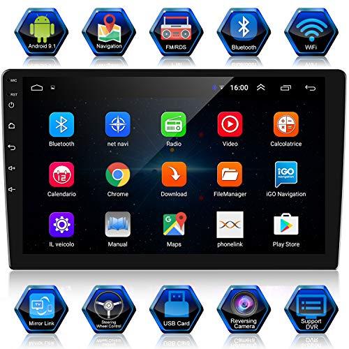 🥇 ANKEWAY Android 9.1 & RDS Radio de Coche 2 DIN 10.1 Pulgadas Navegación GPS 1080P HD Pantalla Táctil WiFi/Bluetooth Manos Libres 1G/16G Reproductor de Coche+Internet WiFi+Cámara de Visión Trasera