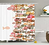 Fish Shower Curtain Colorful Fish Nautical Coastal Decor Selection, Fish Flock One Facing Others Bathroom Art Design Seashore Print Soft Pastel Colors Fabric, 69x70 Inches, Marine Coral Yellow Green