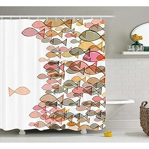 Fish Shower Curtain Colorful Fish Nautical Coastal Decor Selection, Fish  Flock One Facing Others Bathroom Art Design Seashore Print Soft Pastel  Colors ...