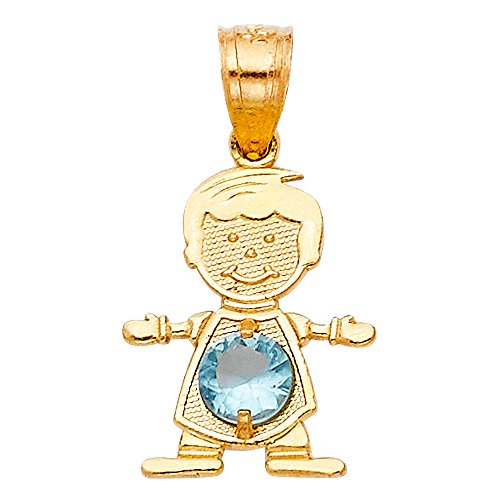 - 14K Yellow Gold March Birthstone Cubic Zirconia CZ Boy Charm Pendant For Necklace or Chain