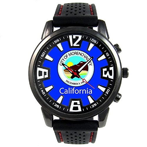 Moreno Valley US City Flag Mens Black Jelly Silicone Wrist Watch