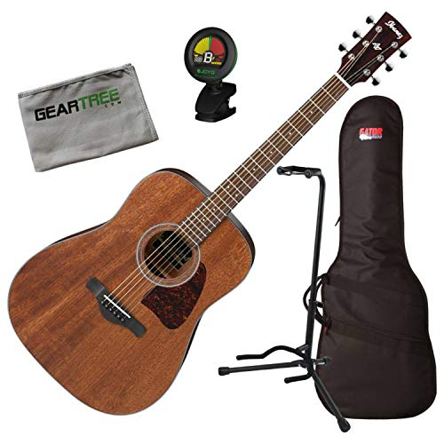Ibanez AW54OPN AW Artwood Open Pore Natural Acoustic Guitar w/Bag, Tuner, Stand, (Stand Ibanez)