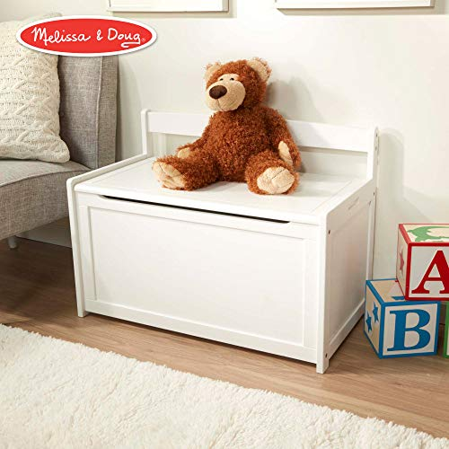 Childrens Toy Box - Melissa & Doug Wooden Toy Chest, Sturdy Wooden Chest (8.25 Cubic Feet of Storage, Easy to Assemble, White)