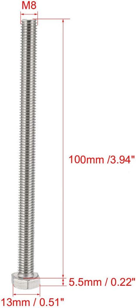 uxcell Hex Screw Bolt,Metric M8x16mm 304 Stainless Steel Hexagonal Screw Bolt Silver 10pcs