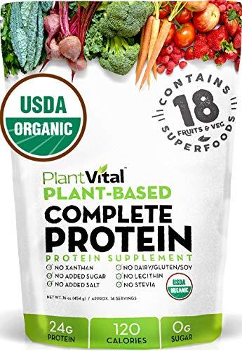 New! Plant Based Protein Powder w 18 SUPERFOODS, Veggies & Probiotics: Kale, Beets, Spirulina & More. Vegan, All BCAA's, Organic, Non-GMO, Gluten Free. 16oz