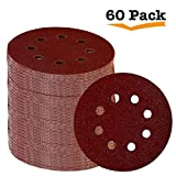 Fadetech 60 Pieces 8 Holes 5 Inch Sanding Discs Hook and Loop 60/100/180/240/320/400 Grit Sandpaper Assortment for Random Orbital Sander