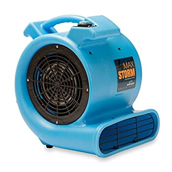 Image of Home and Kitchen Max Storm 1/2 HP Durable Lightweight Air Mover Carpet Dryer Blower Floor Fan for Pro Janitorial Cleaner, Blue